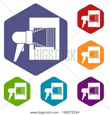 Bar code on cargo icons set rhombus in different colors isolated on white background