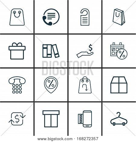 Set Of 16 Ecommerce Icons. Includes Cardboard, Rich, Price And Other Symbols. Beautiful Design Elements.