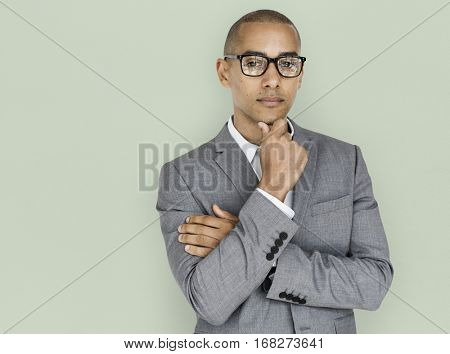 African Descent Business Man Thinking
