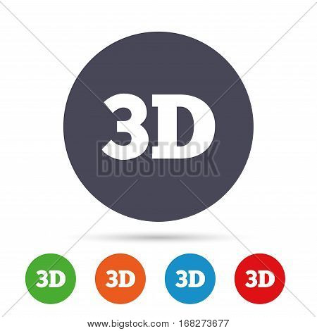 3D sign icon. 3D New technology symbol. Round colourful buttons with flat icons. Vector