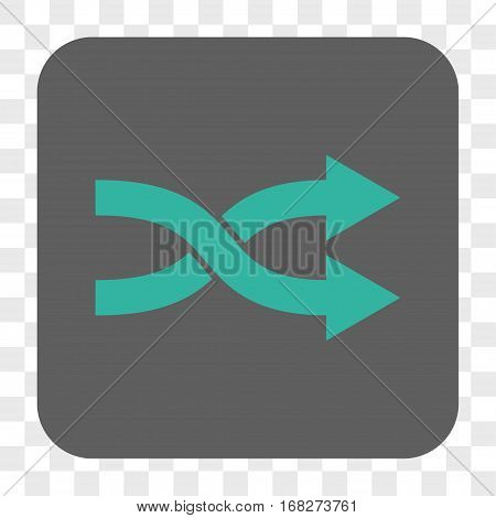 Shuffle Arrows Right interface toolbar button. Vector icon style is a flat symbol in a rounded square button cyan and gray colors chess transparent background.