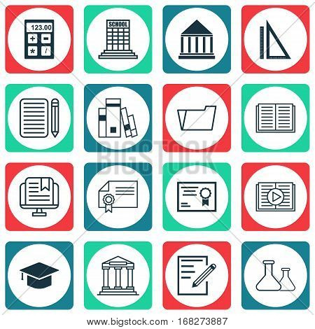 Set Of 16 School Icons. Includes Diploma, Home Work, Paper And Other Symbols. Beautiful Design Elements.