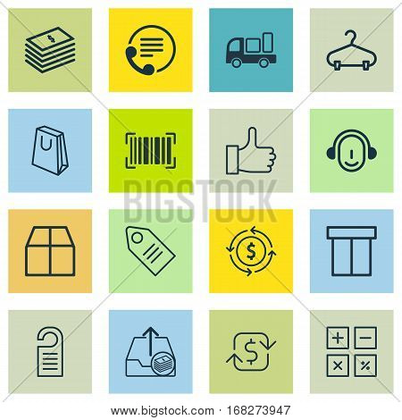 Set Of 16 Ecommerce Icons. Includes Identification Code, Box, Handbag Symbols. Beautiful Design Elements.