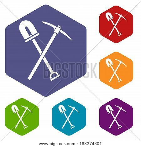 Shovel and pickaxe icons set rhombus in different colors isolated on white background