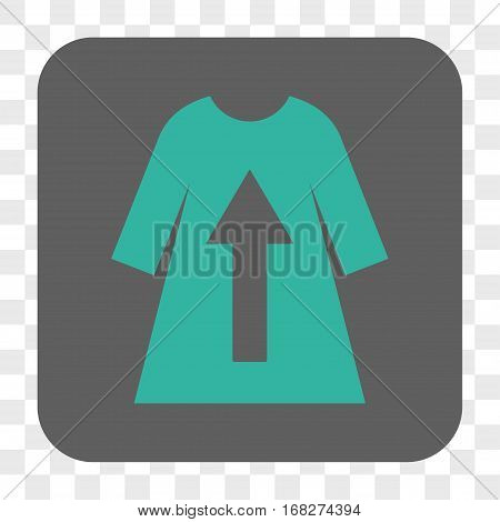 Take Off Female Dress interface toolbar button. Vector icon style is a flat symbol on a rounded square button cyan and gray colors chess transparent background.