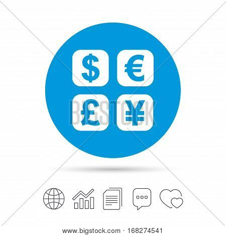 Currency exchange sign icon. Currency converter symbol. Money label. Copy files, chat speech bubble and chart web icons. Vector