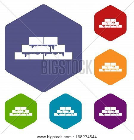 Brickwork icons set rhombus in different colors isolated on white background