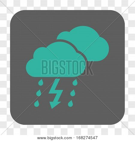 Thunderstorm Clouds interface toolbar button. Vector icon style is a flat symbol inside a rounded square button cyan and gray colors chess transparent background.