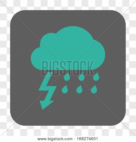 Thunderstorm interface toolbar button. Vector icon style is a flat symbol inside a rounded square button cyan and gray colors chess transparent background.