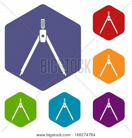 Drawing compass icons set rhombus in different colors isolated on white background