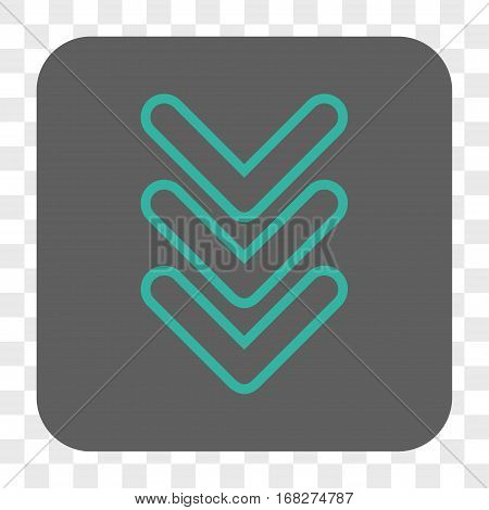 Triple Pointer Down interface toolbar button. Vector icon style is a flat symbol in a rounded square button cyan and gray colors chess transparent background.