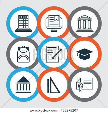 Set Of 9 Education Icons. Includes Education Center, Graduation, Measurement And Other Symbols. Beautiful Design Elements.