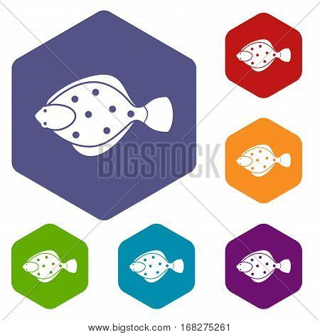 Flounder fish icons set rhombus in different colors isolated on white background