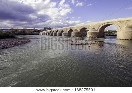 Roman bridge of Cordova. Placed on the river The Guadalquivir to his step along Cordova. Acquaintance like