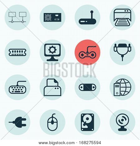 Set Of 16 Computer Hardware Icons. Includes PC, Internet Network, Joystick And Other Symbols. Beautiful Design Elements.