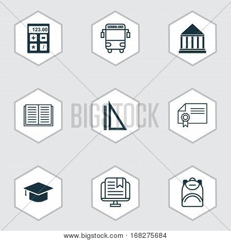 Set Of 9 Education Icons. Includes Graduation, E-Study, Measurement And Other Symbols. Beautiful Design Elements.