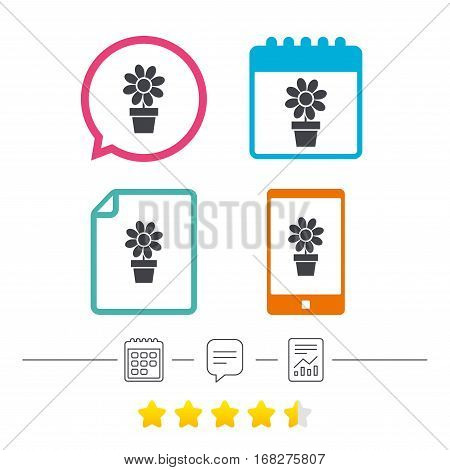 Flowers in pot icon. Bouquet of flowers with petals. Macro sign. Calendar, chat speech bubble and report linear icons. Star vote ranking. Vector