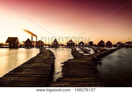 Sunset Lake Bokod With Pier