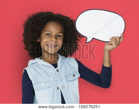 African Descent Girl Holding Speech Bubble