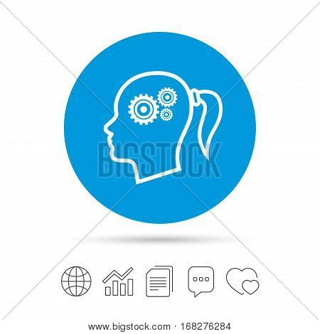 Head with gears sign icon. Female woman human head think symbol. Copy files, chat speech bubble and chart web icons. Vector