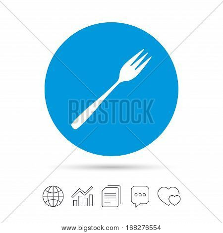 Eat sign icon. Cutlery symbol. Diagonal dessert trident fork. Copy files, chat speech bubble and chart web icons. Vector