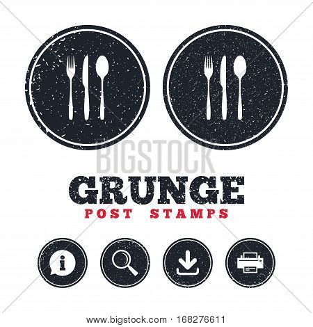 Grunge post stamps. Fork, knife, tablespoon sign icon. Cutlery collection set symbol. Information, download and printer signs. Aged texture web buttons. Vector