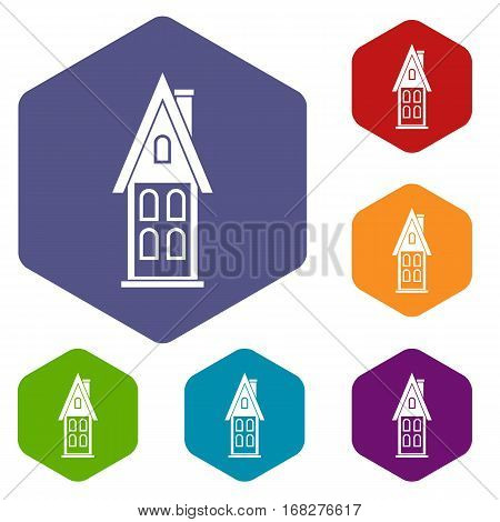 Two storey house with attic icons set rhombus in different colors isolated on white background