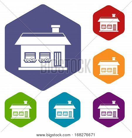 One storey house with two windows icons set rhombus in different colors isolated on white background