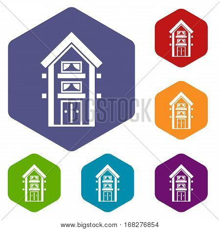 Two-storey house with balconies icons set rhombus in different colors isolated on white background