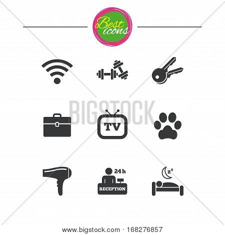 Hotel, apartment service icons. Wi-fi internet. Reception, pets allowed and hairdryer symbols. Classic simple flat icons. Vector