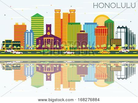 Honolulu Skyline with Color Buildings, Blue Sky and Reflections. Business Travel and Tourism Concept with Modern Architecture. Image for Presentation Banner Placard and Web Site.