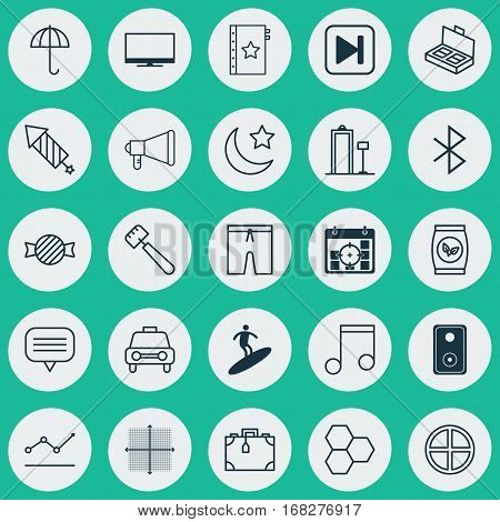 Set Of 25 Universal Editable Icons. Can Be Used For Web, Mobile And App Design. Includes Elements Such As Toffee Candy, Audio Device, Wireless Connection.