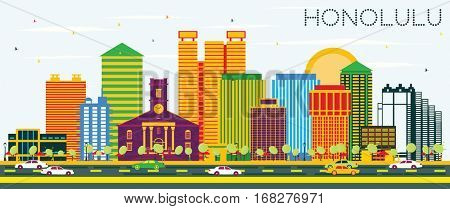 Honolulu Skyline with Color Buildings and Blue Sky. Business Travel and Tourism Concept with Modern Architecture. Image for Presentation Banner Placard and Web Site.