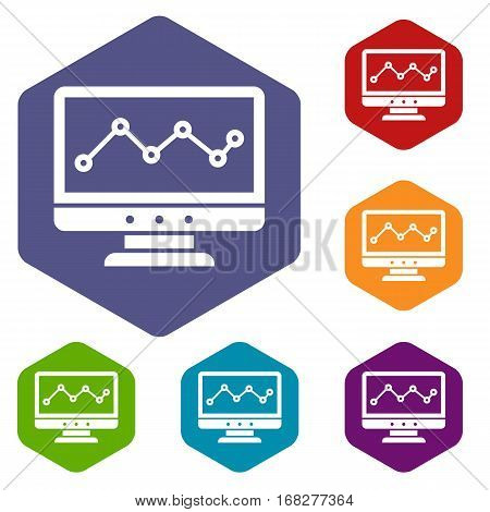 Graph in computer screen icons set rhombus in different colors isolated on white background