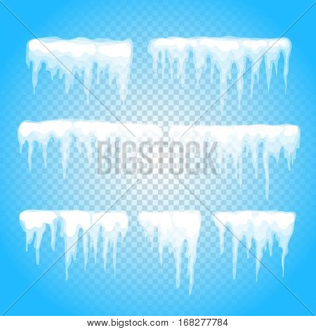 Vector icicle and snow elements clipart. Different snow cap isolated on white. Snow elements on winter