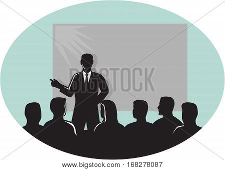 Illustration of a speaker talking in front of audience with a projector screen at the back set inside oval shape done in retro woodcut style .