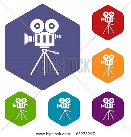 Camcorder icons set rhombus in different colors isolated on white background