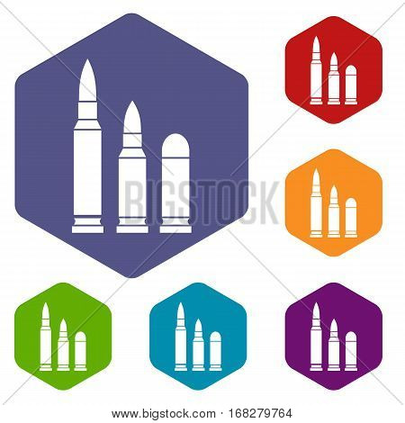 Bullets icons set rhombus in different colors isolated on white background