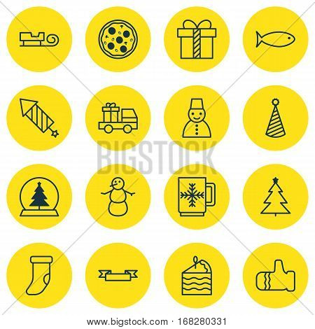 Set Of 16 Christmas Icons. Includes Magic Sphere, Cake Piece, Winter Cup And Other Symbols. Beautiful Design Elements.