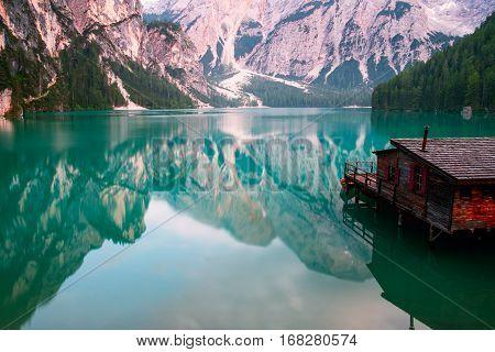 Braies Lake ( Pragser Wildsee ) in Dolomites mountains Sudtirol Italy