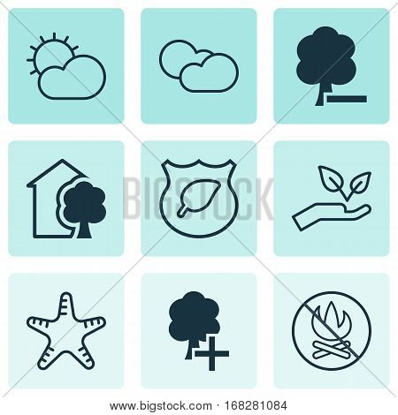 Set Of 9 Eco-Friendly Icons. Includes House, Delete Woods, Sea Star And Other Symbols. Beautiful Design Elements.