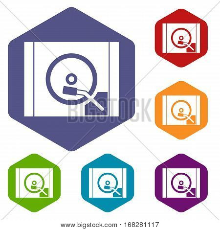 Turntable icons set rhombus in different colors isolated on white background