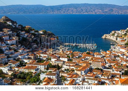 Top view of Hydra island, Aegean sea, Greece.