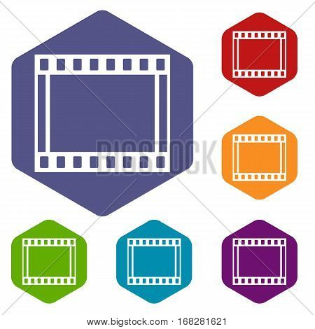 Film with frames movie icons set rhombus in different colors isolated on white background