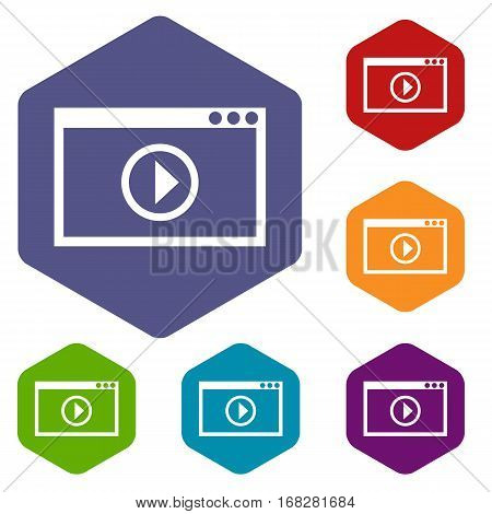Program for video playback icons set rhombus in different colors isolated on white background