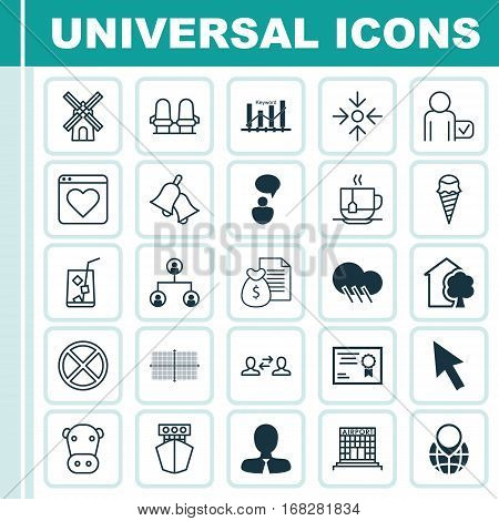 Set Of 25 Universal Editable Icons. Can Be Used For Web, Mobile And App Design. Includes Elements Such As Business Aim, Manager, Lemon Juice And More.