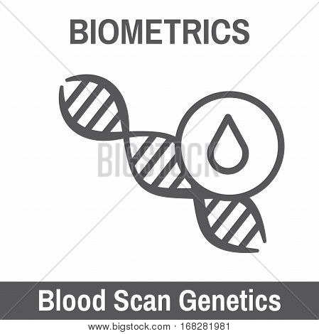 DNA and Blood Biometric Scanning Recognition Icon