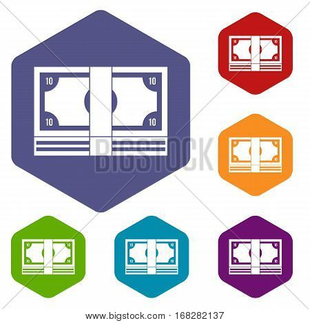 Bundle of money icons set rhombus in different colors isolated on white background