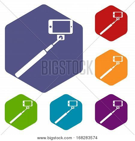 Selfie stick and smartphone icons set rhombus in different colors isolated on white background