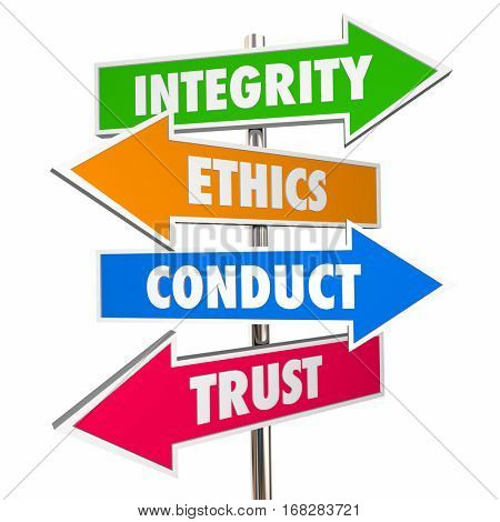 Integrity Arrow Signs Honesty Conduct Trust 3d Illustration